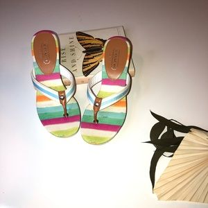 Coach Felicite Thong Sandals in Water/multi color